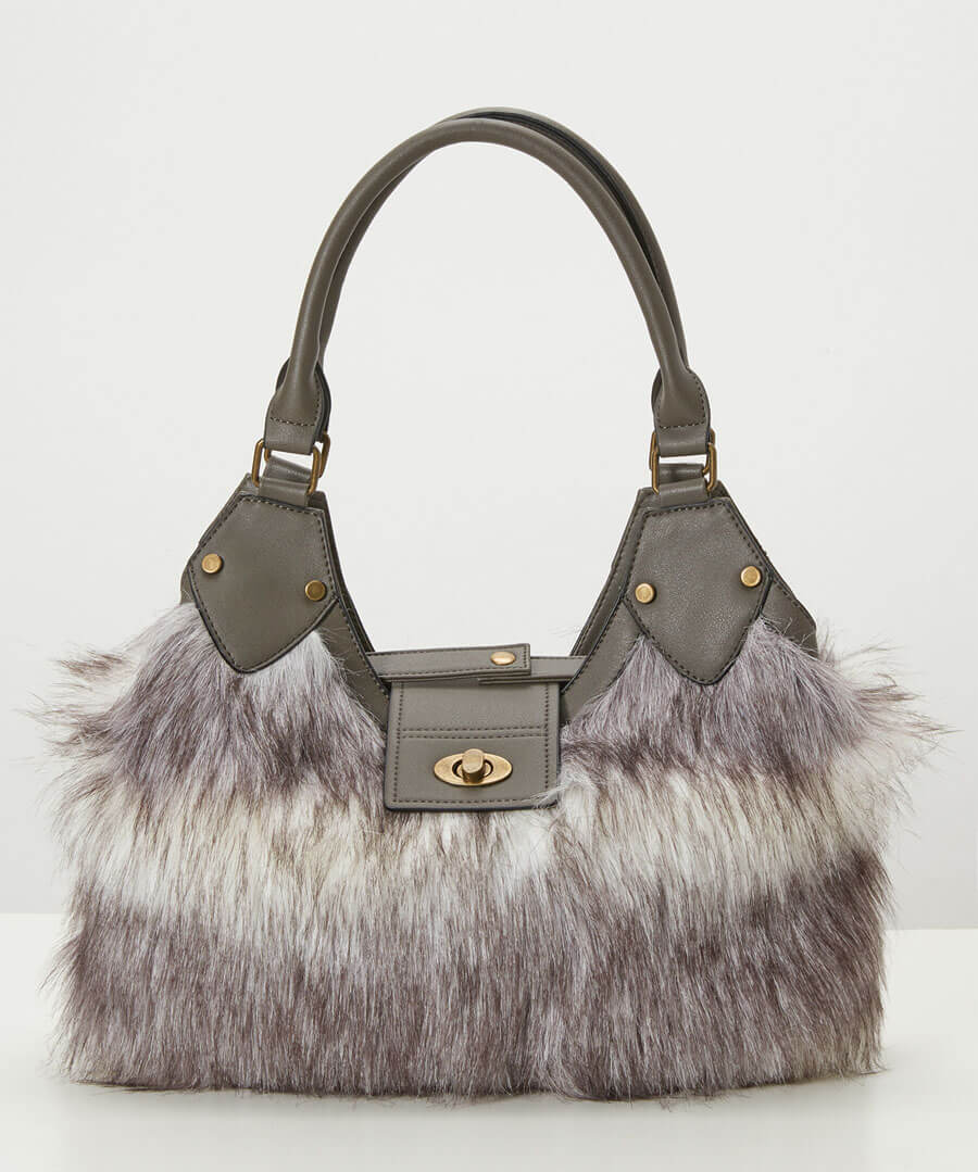 Anastasia Faux Fur Bag Model Front