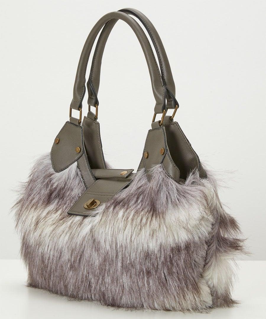 Anastasia Faux Fur Bag Model Back