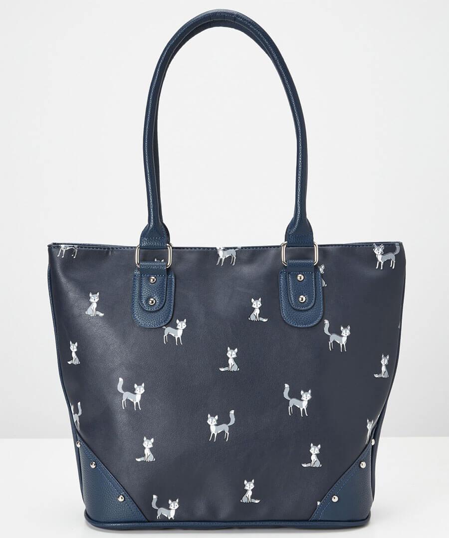 Funky Fox Print Bag Model Front