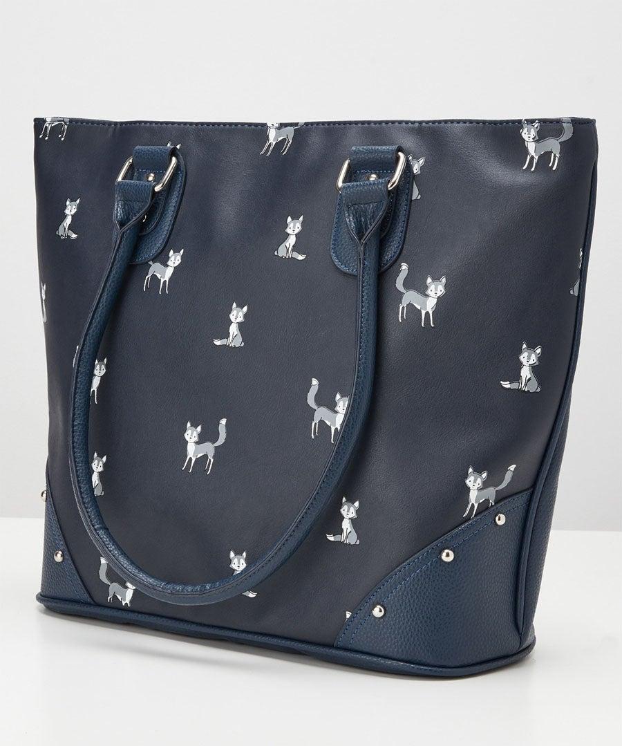 Funky Fox Print Bag Model Back