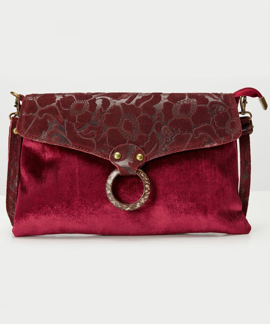 Mistero Leather And Velvet Bag Model Front