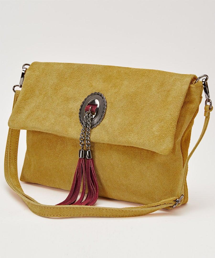 Romola Suede Tassel Bag Model Front