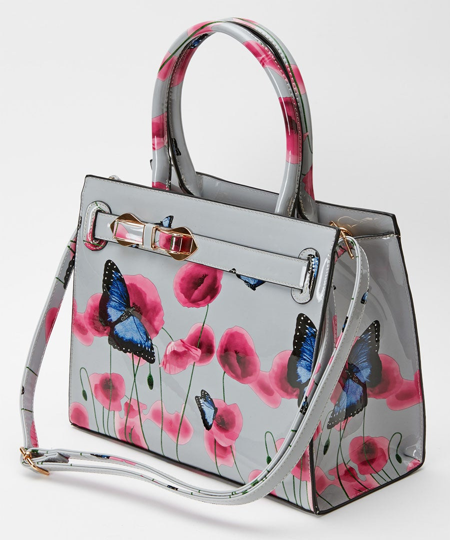 Glorious Patent Poppy Bag Model Front