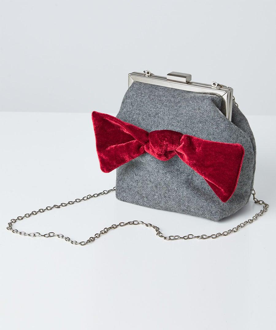 Rockefeller Velvet Bow Bag Model Front