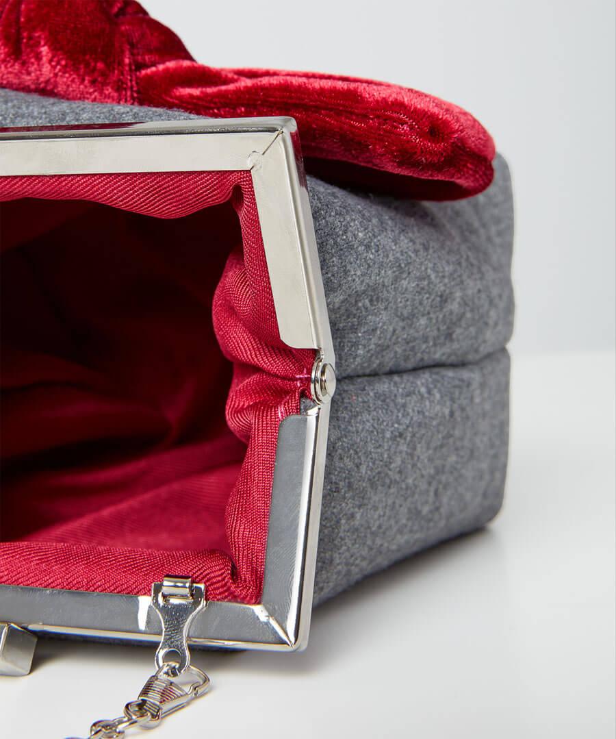 Rockefeller Velvet Bow Bag Model Back