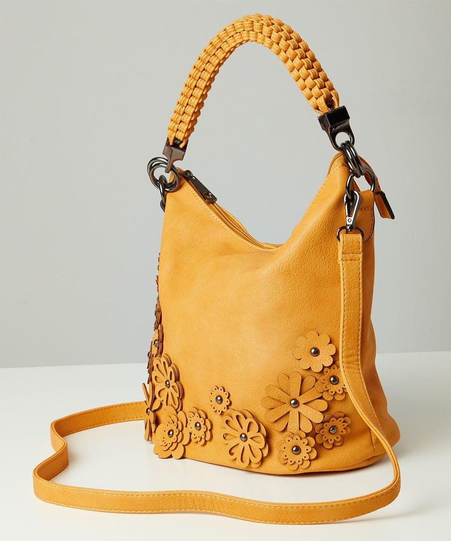 Gorgeous Flower Applique Bag Model Front