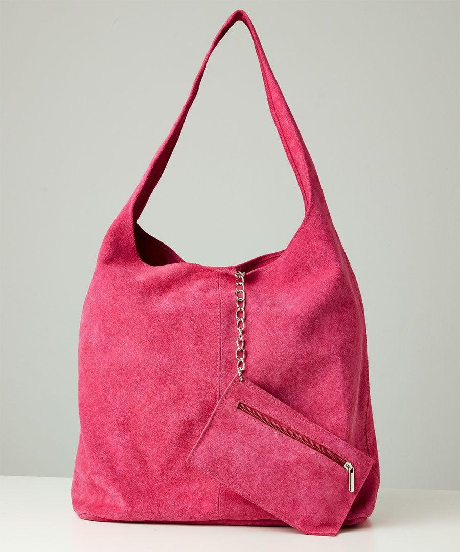 Bella Boho Suede Bag With Purse Model Front