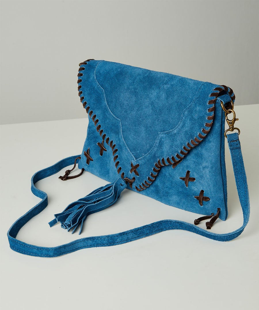 Sassy Suede Whip Stitch Bag Model Front