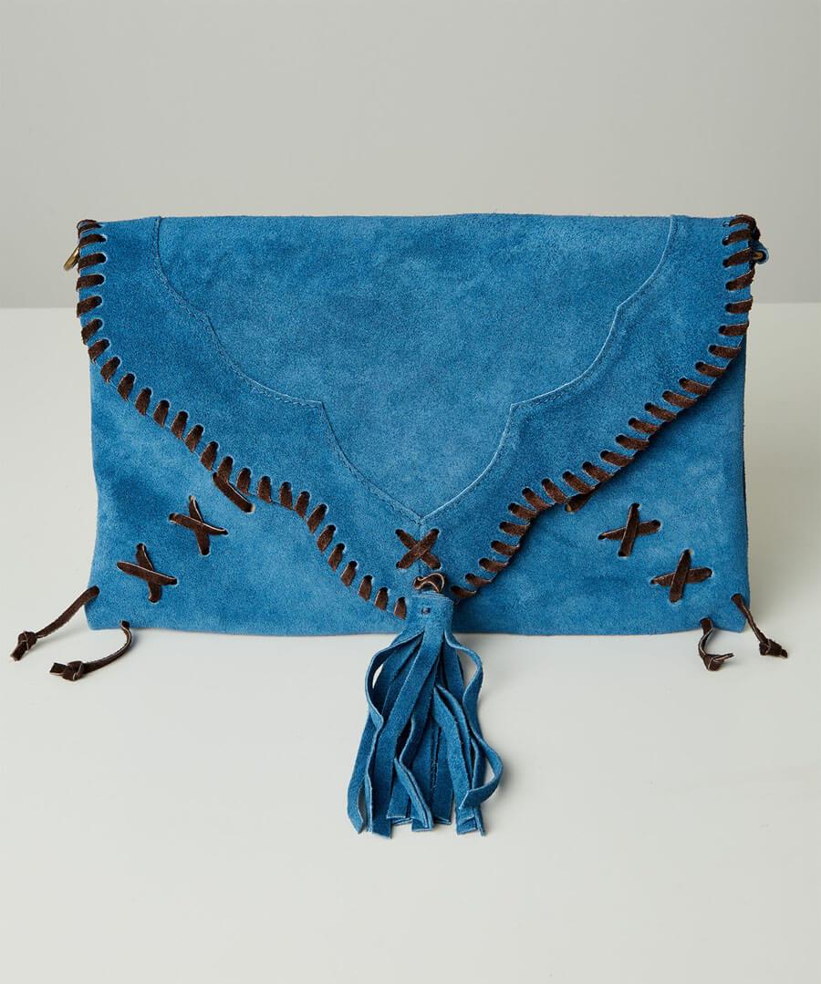 Sassy Suede Whip Stitch Bag
