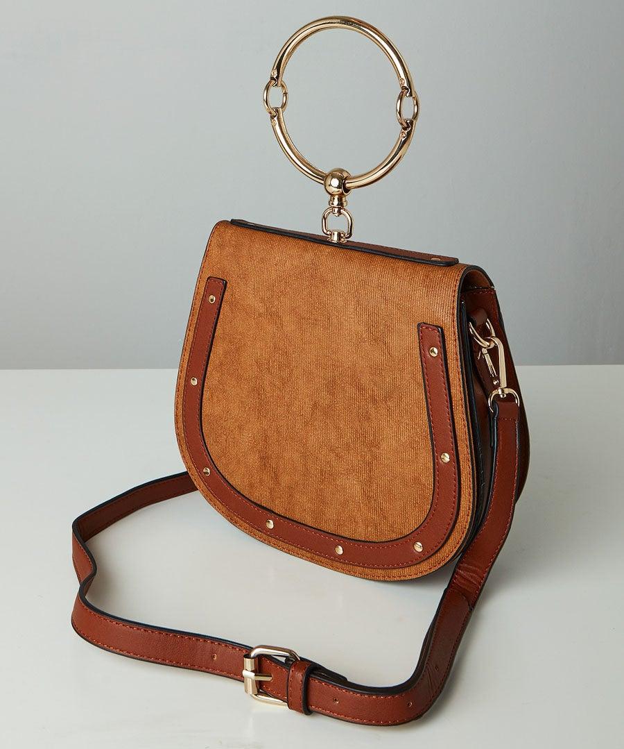 Studded Saddle Bag Model Front
