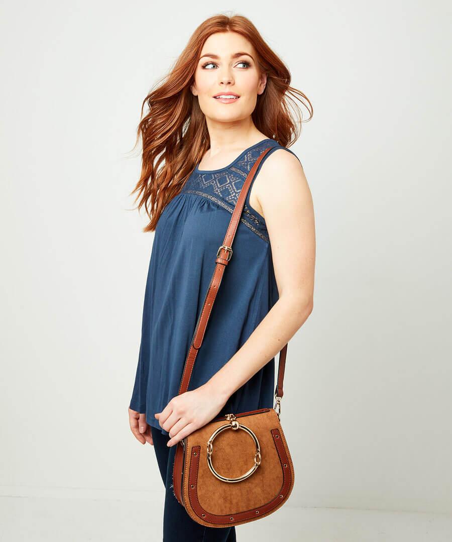 Studded Saddle Bag Model Back