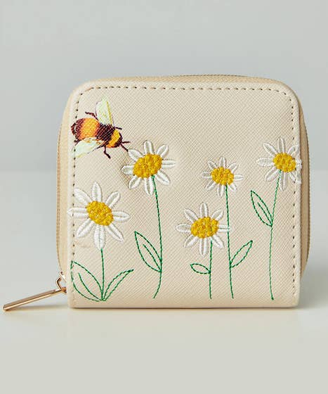 Bee And Daisy Embroidered Purse