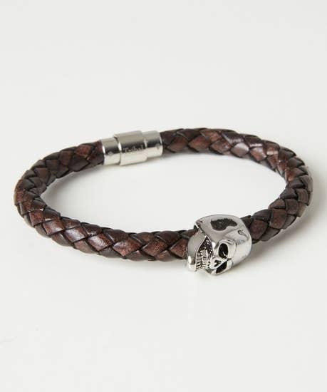 Luxury Leather Skull Bracelet