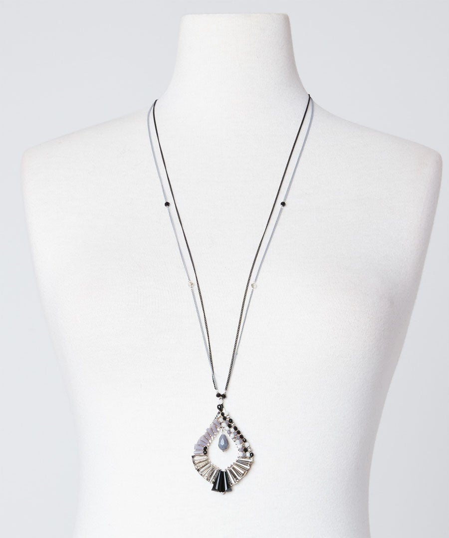 Dazzling Longline Necklace Model Front