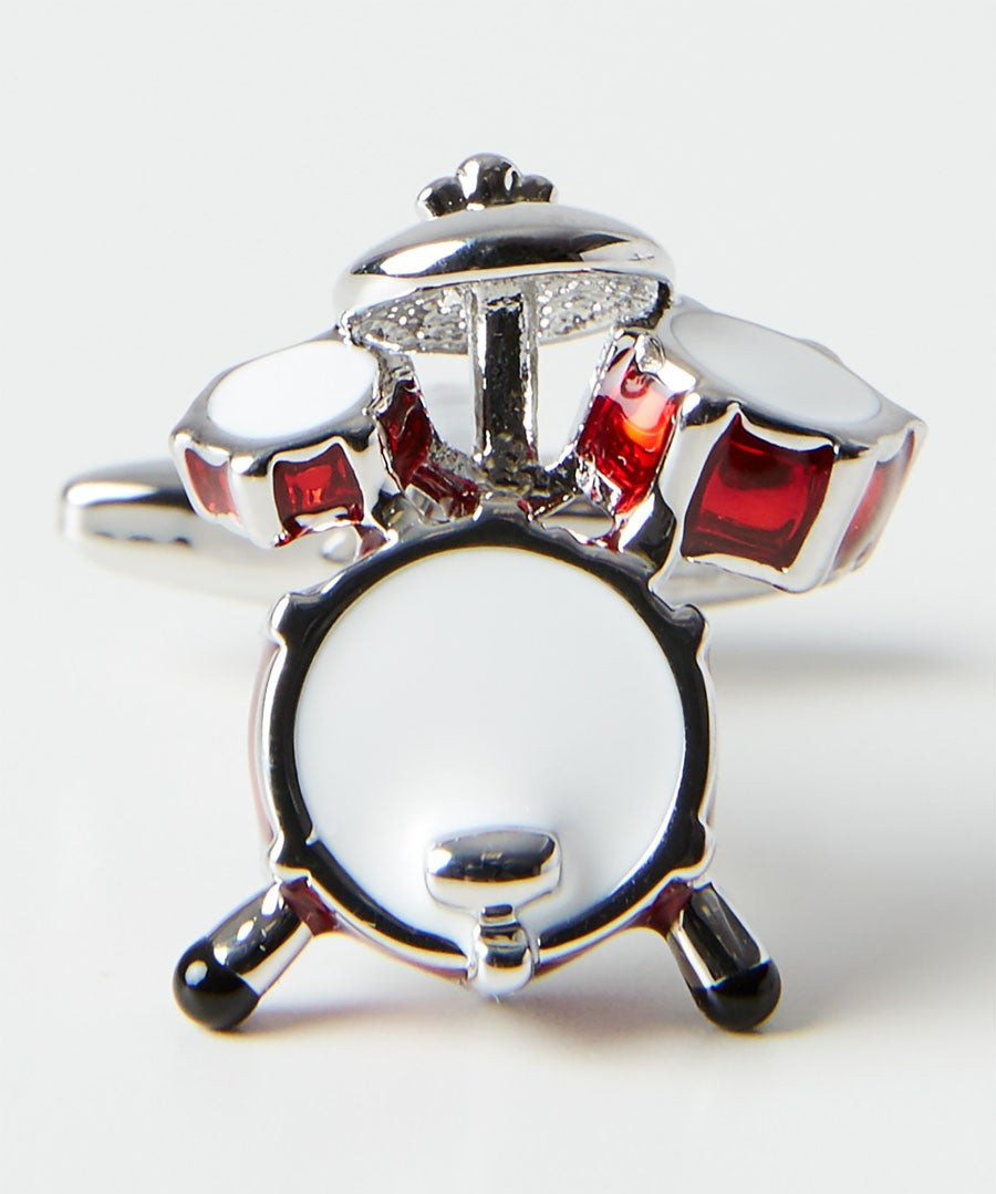 Drum Kit Rhodium Cufflinks Model Front