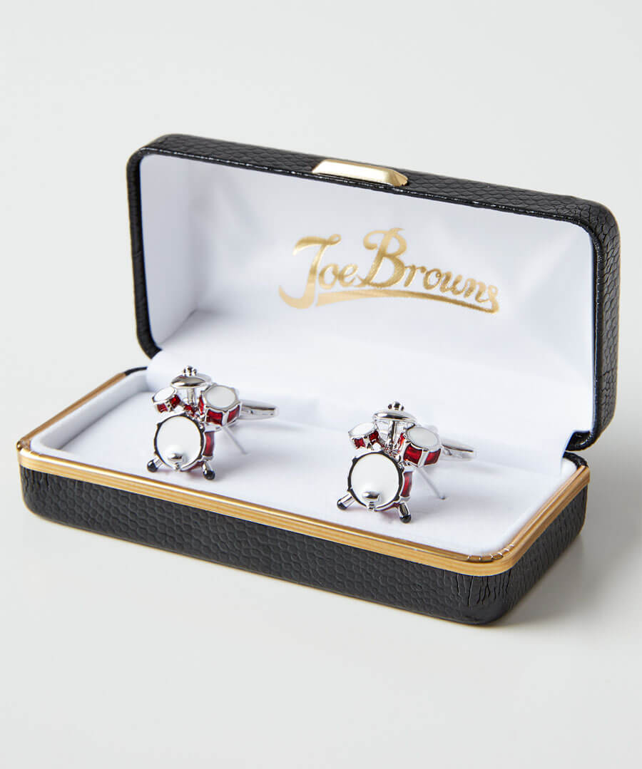 Drum Kit Rhodium Cufflinks
