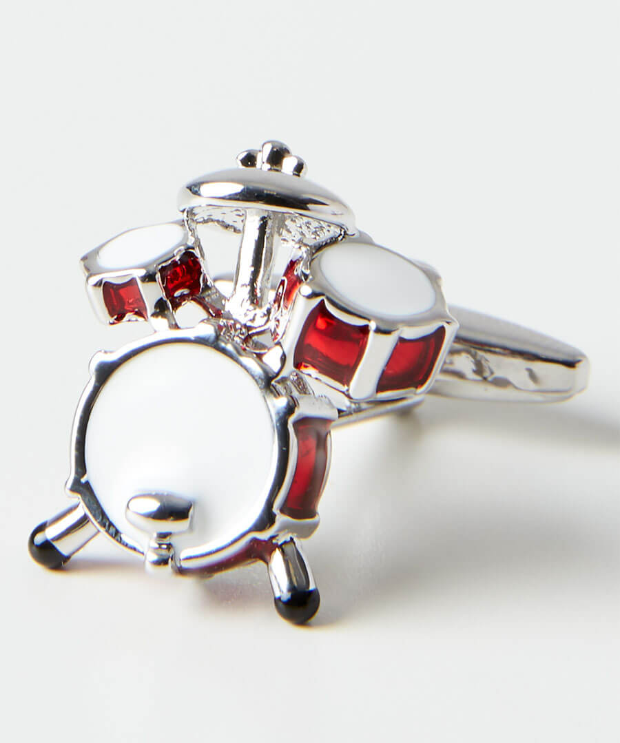 Drum Kit Rhodium Cufflinks Model Back
