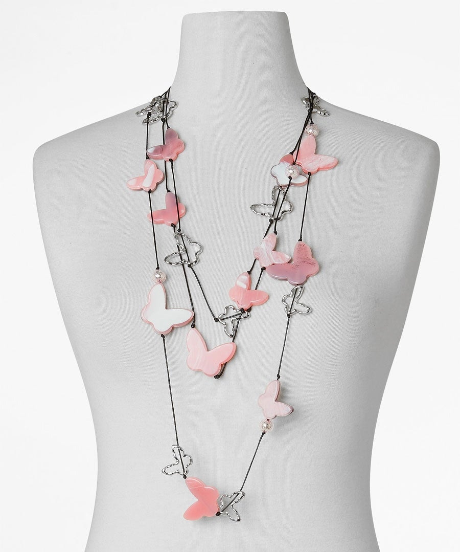 Fluttering Butterflies Necklace Model Front