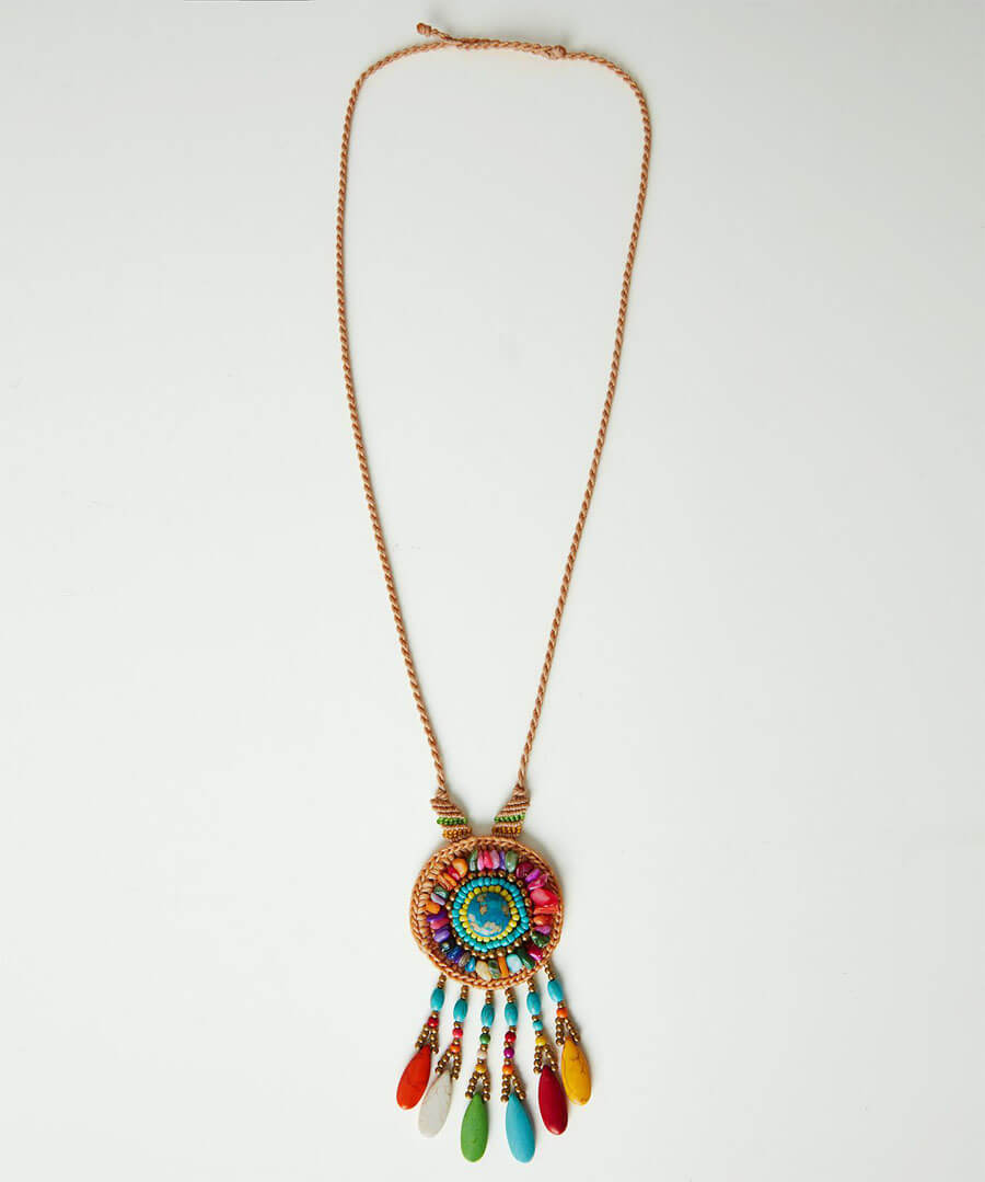 Beaded Dream Catcher Necklace Model Front
