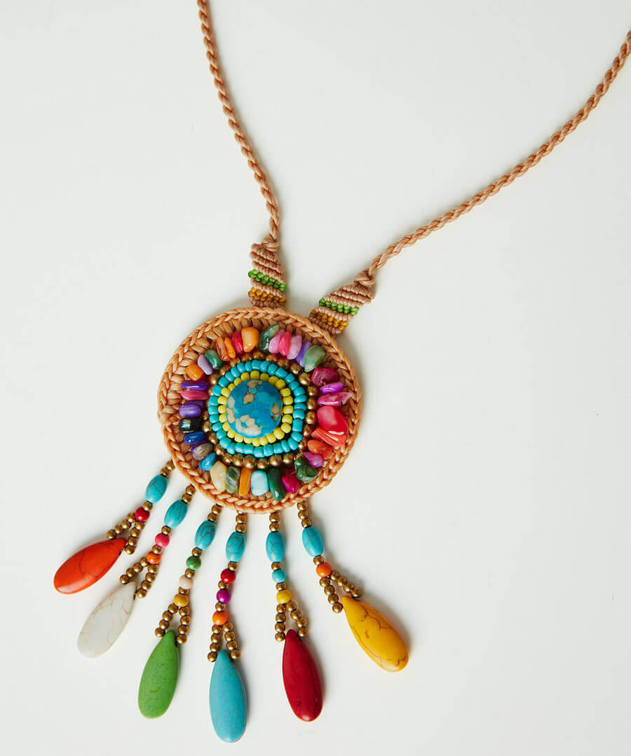 Beaded Dream Catcher Necklace Back