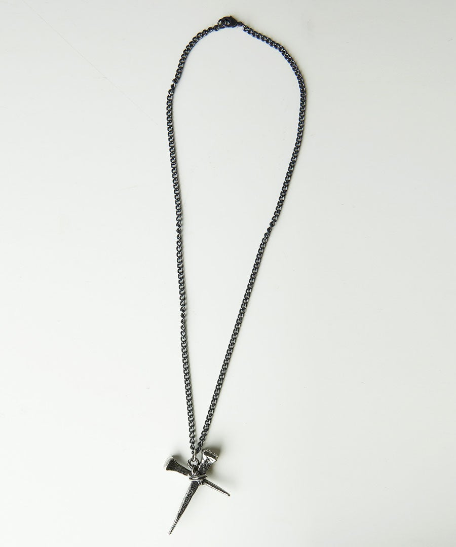 Pewter Cross Chain Model Front