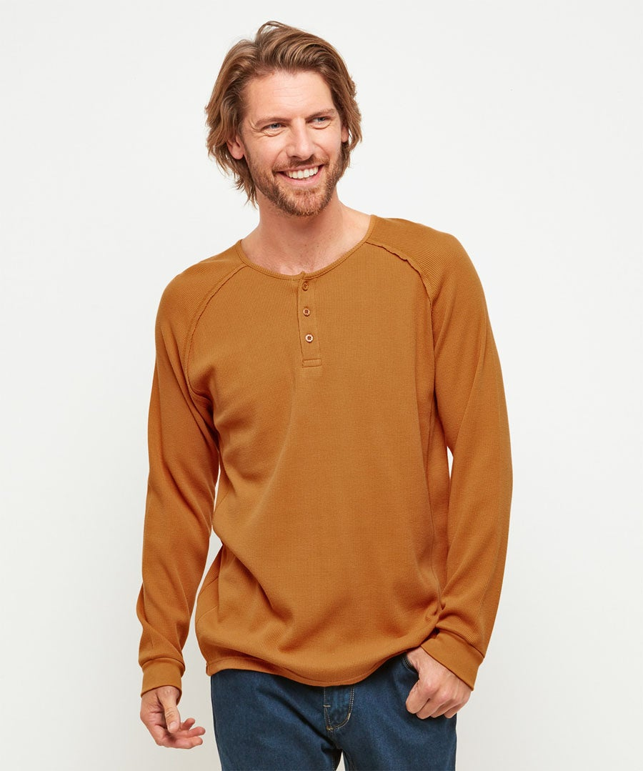 Comfortably Cool Henley Model Front