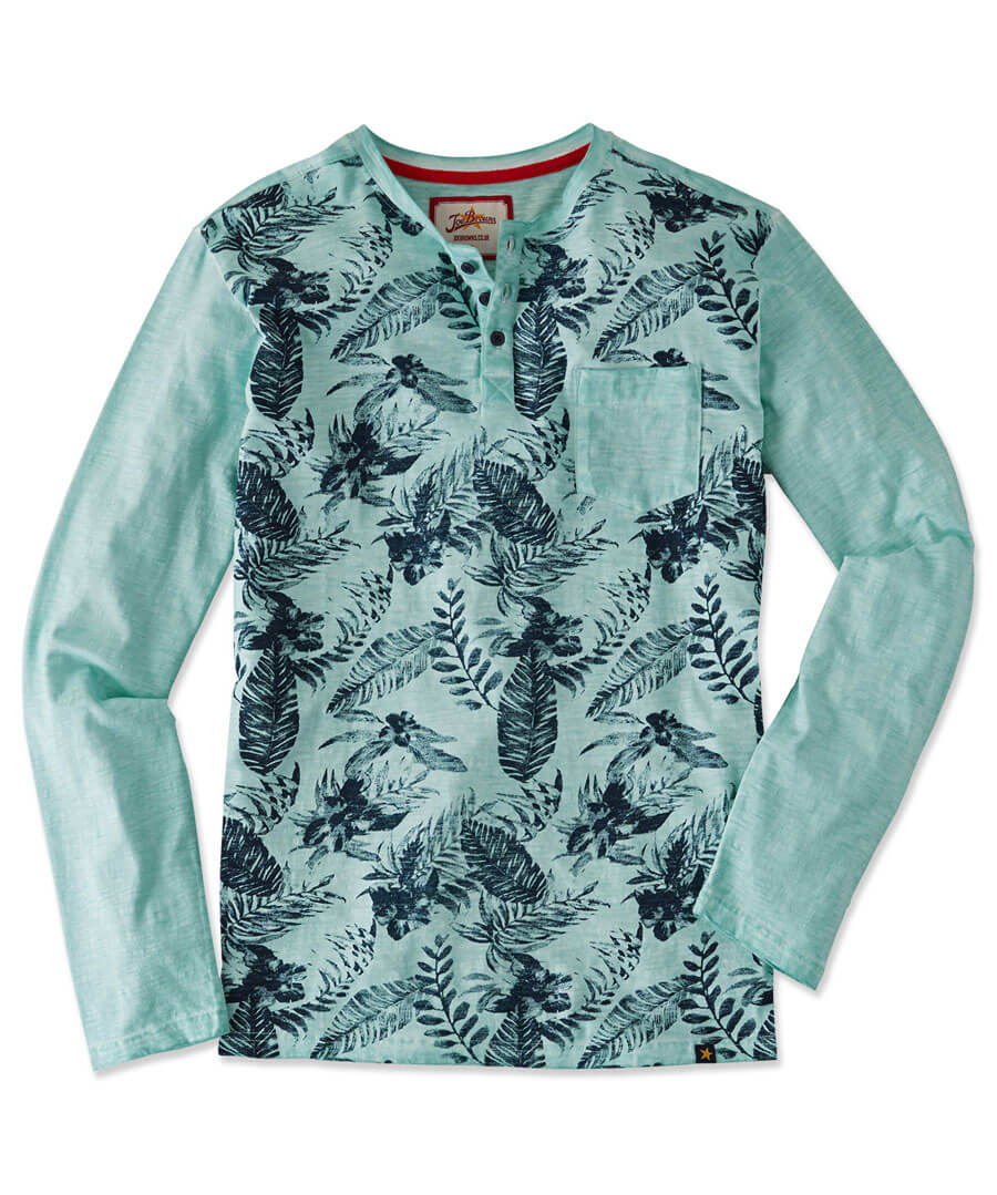 Funky And Fun Floral Henley Top Model Front
