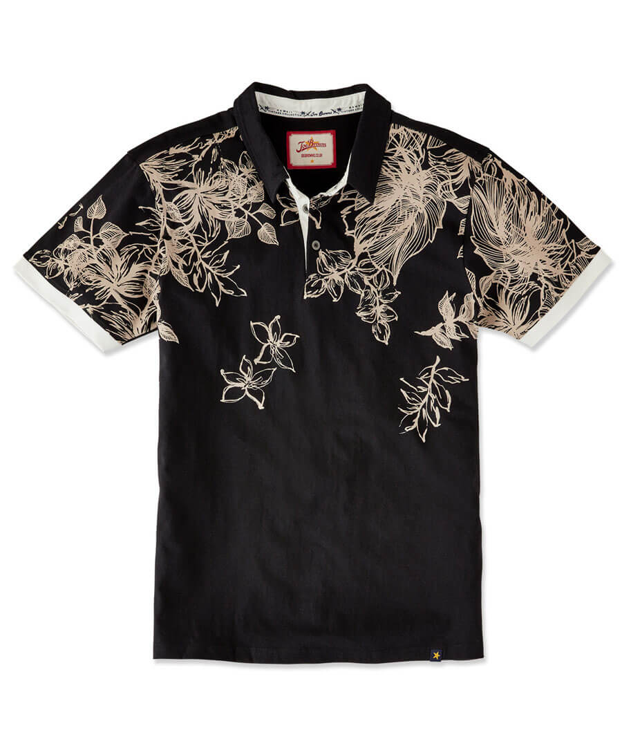 Funky Floral Polo Model Front