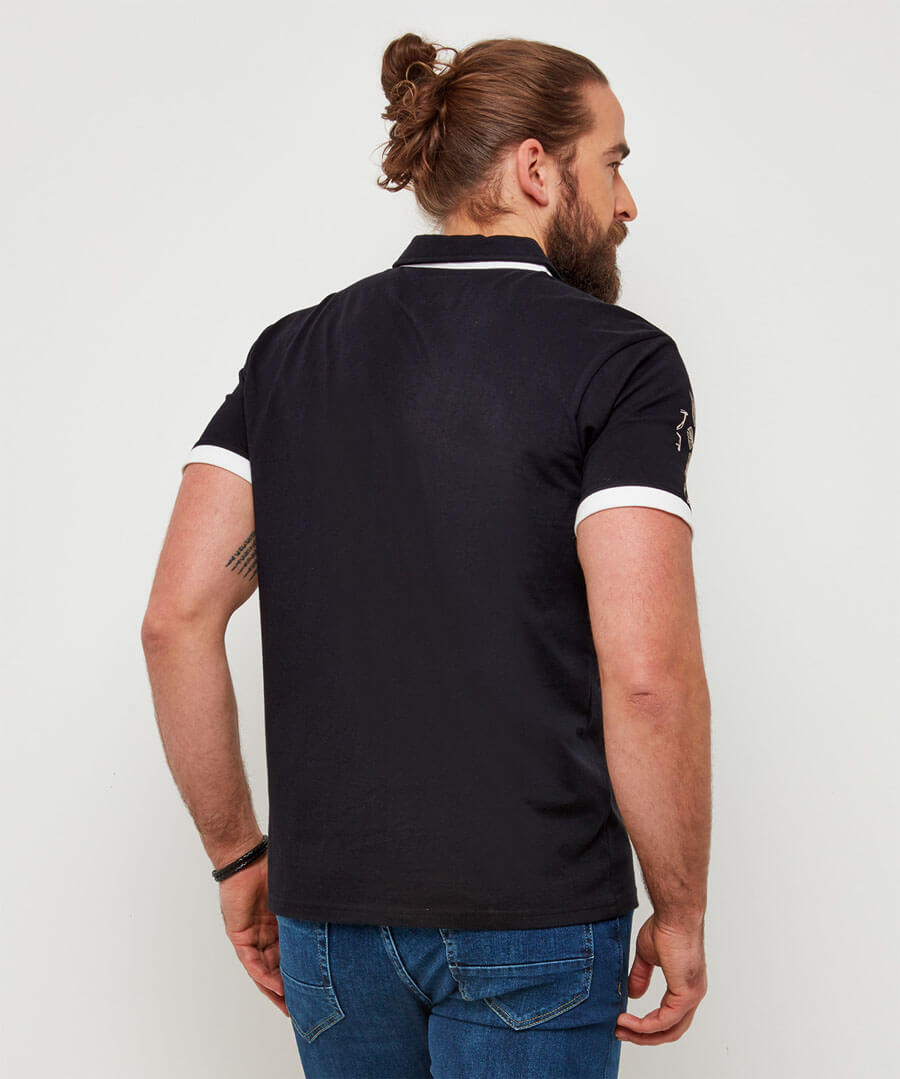 Funky Floral Polo Model Back