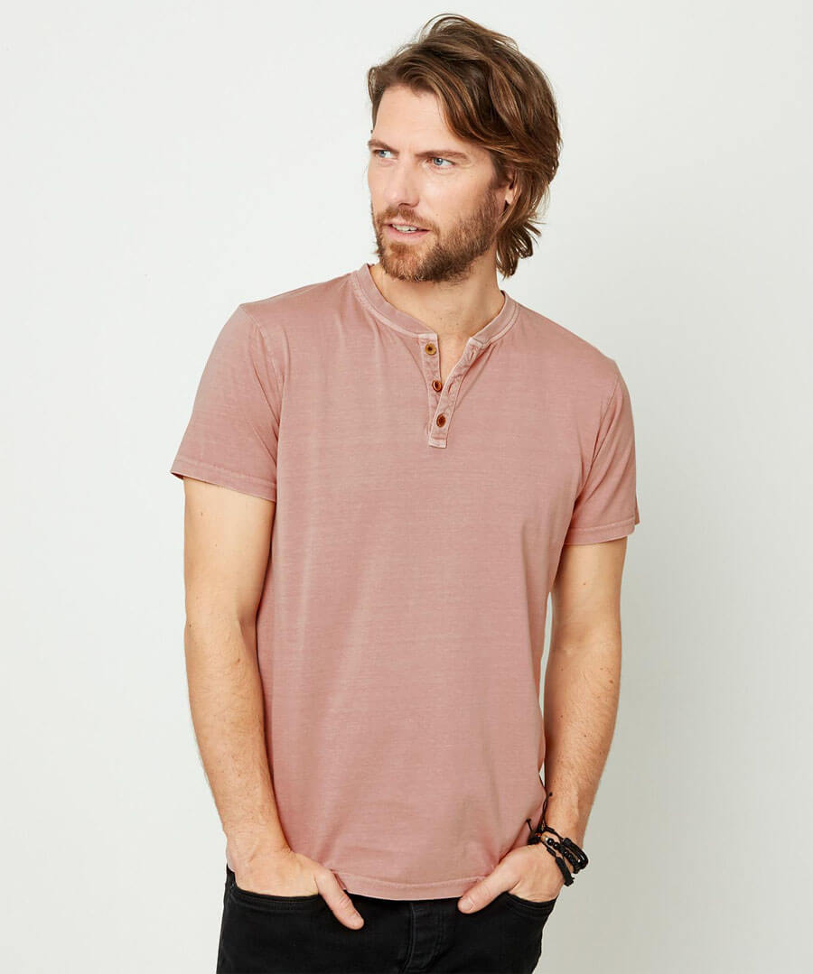 Wear With Anything Henley Model Front