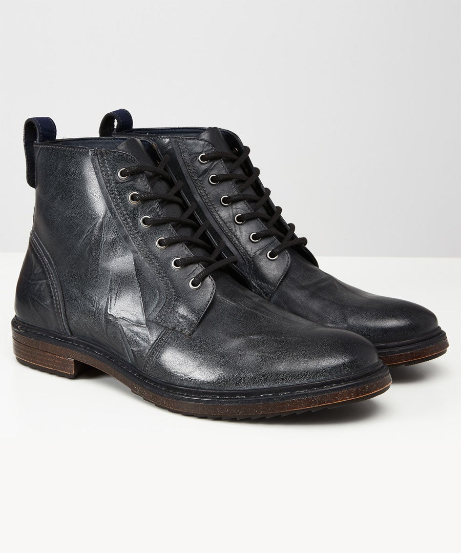 Distressed To Perfection Leather Boots Model Front