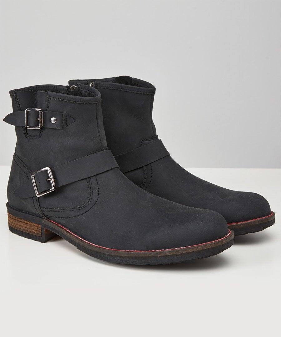 Waxed Buckle Biker Boots
