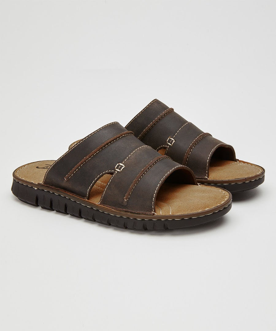 Off Beat Leather Sandals Model Front