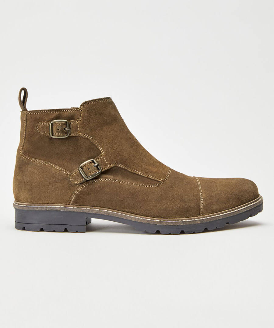 Double Monk Strap Boots Model Front