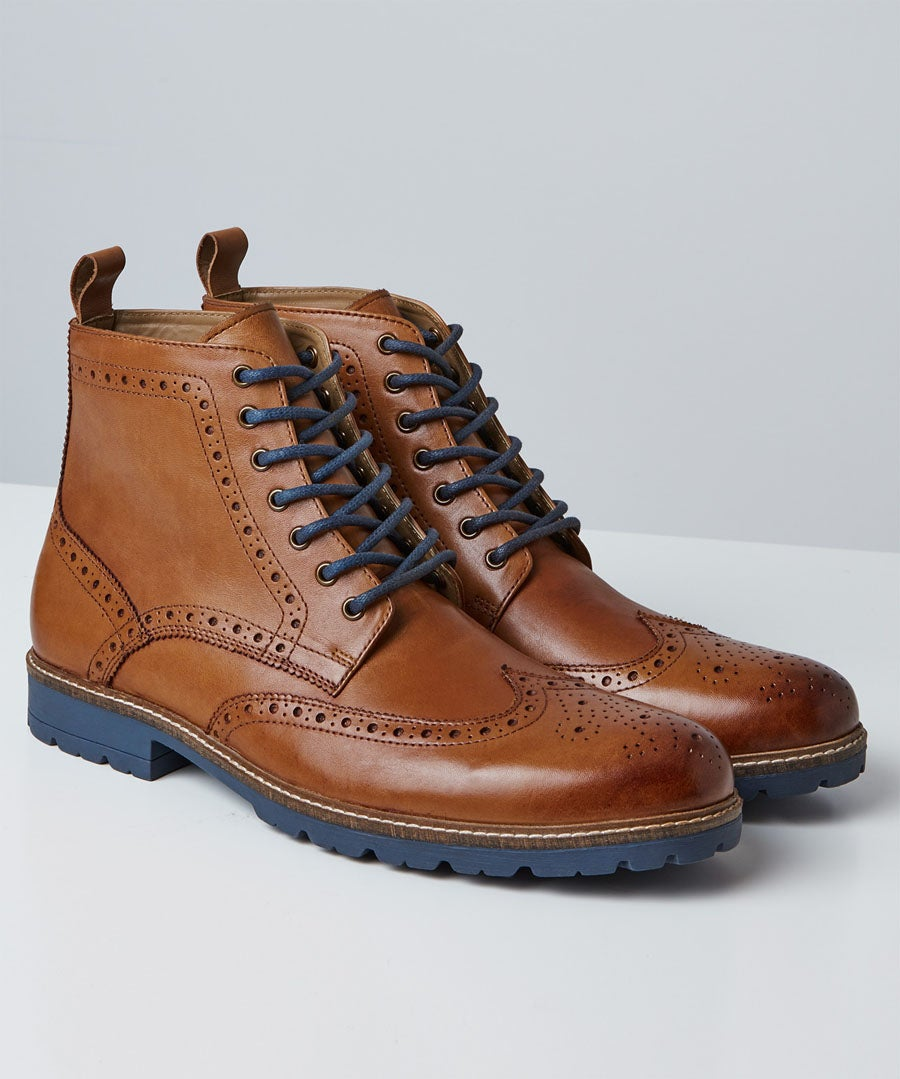 Harrison Tan Brogue Boots Model Front