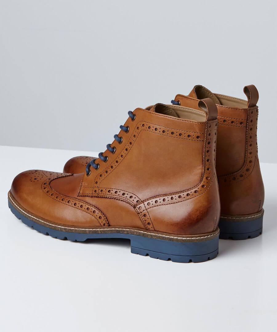 Harrison Tan Brogue Boots Model Back