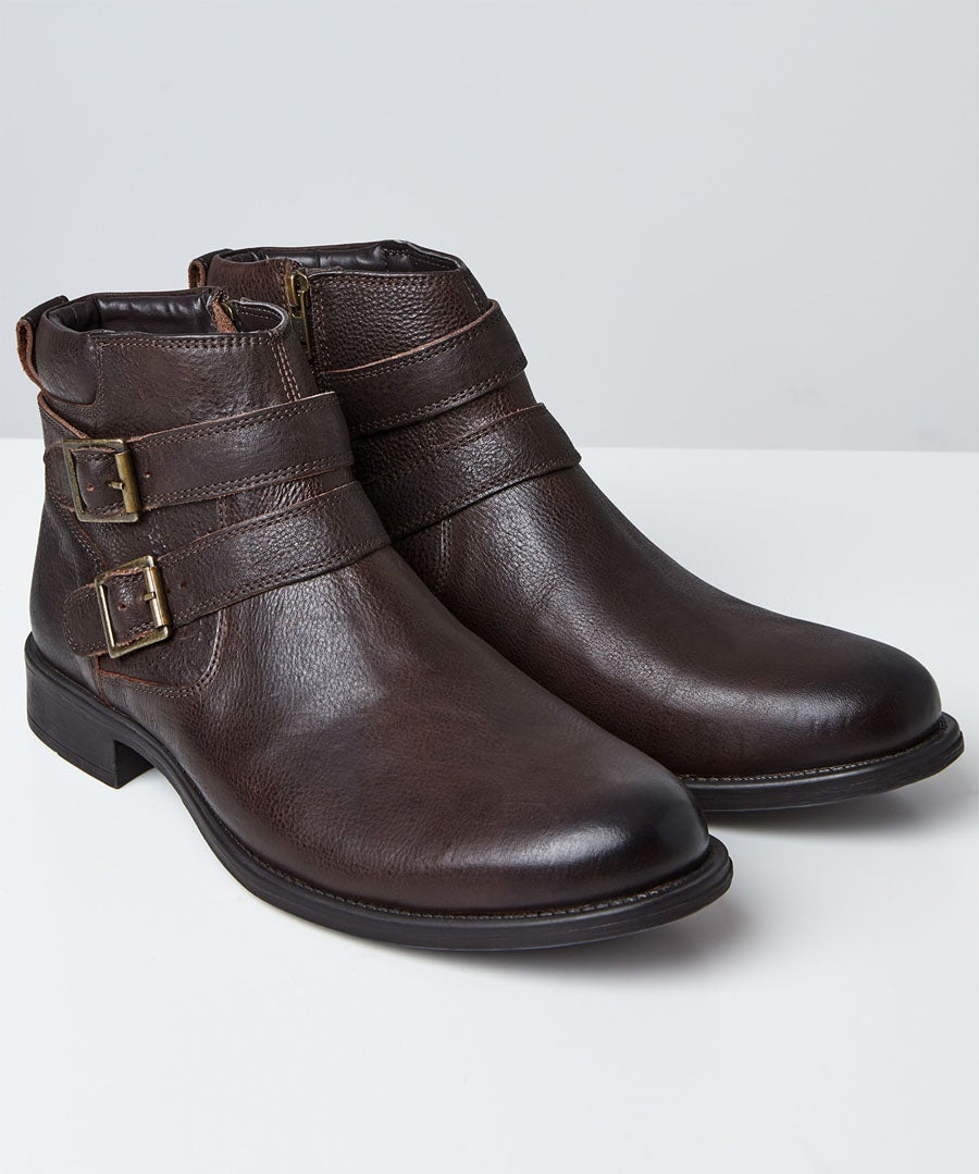 Remix Leather Boots Model Front