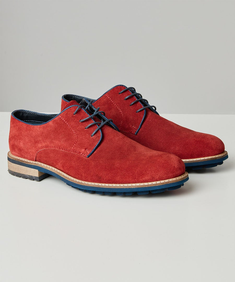 Naples Red Suede Derby Model Front