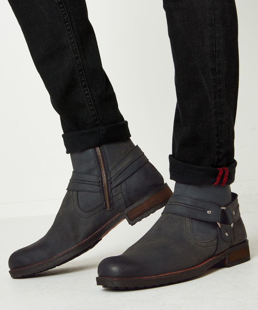 Houston Oiled Leather Boots Back