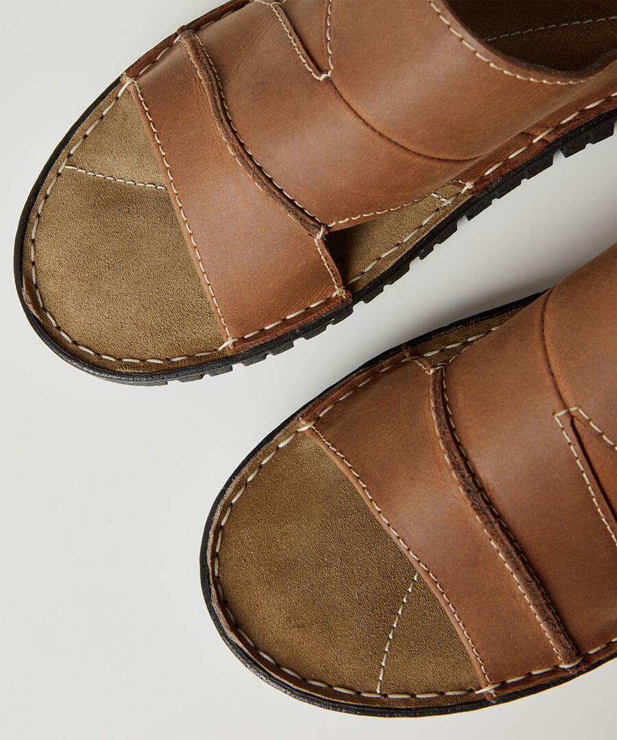 Southside Leather Sandals Model Back