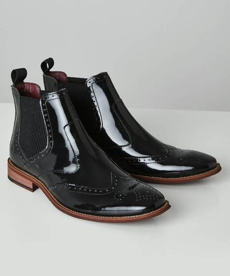 Stacy Adams Men's Victorian Boots and Shoes Ultimate High Shine Leather Chelsea Boots $95.00 AT vintagedancer.com