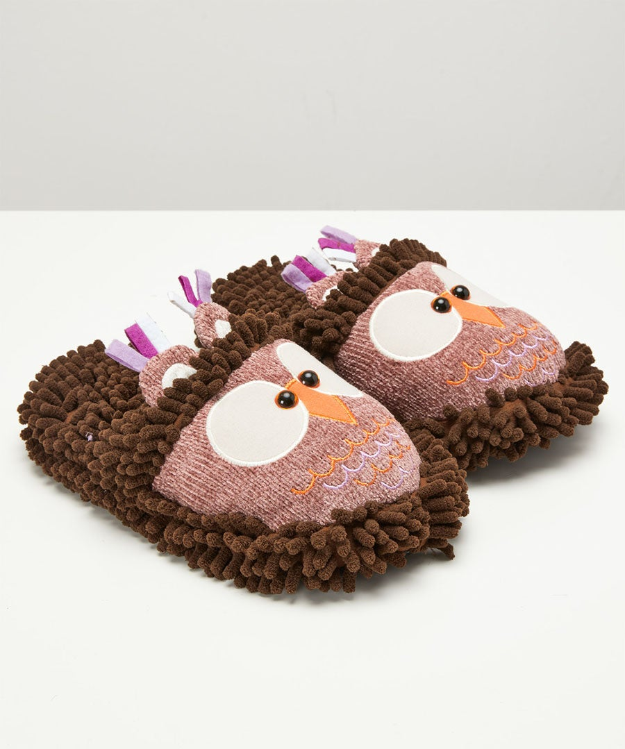 Fuzzy Owl Slippers Model Front