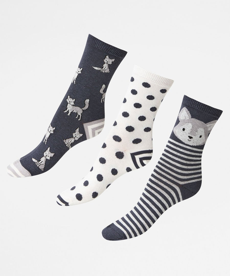 Pk/3 Fun And Foxy Socks