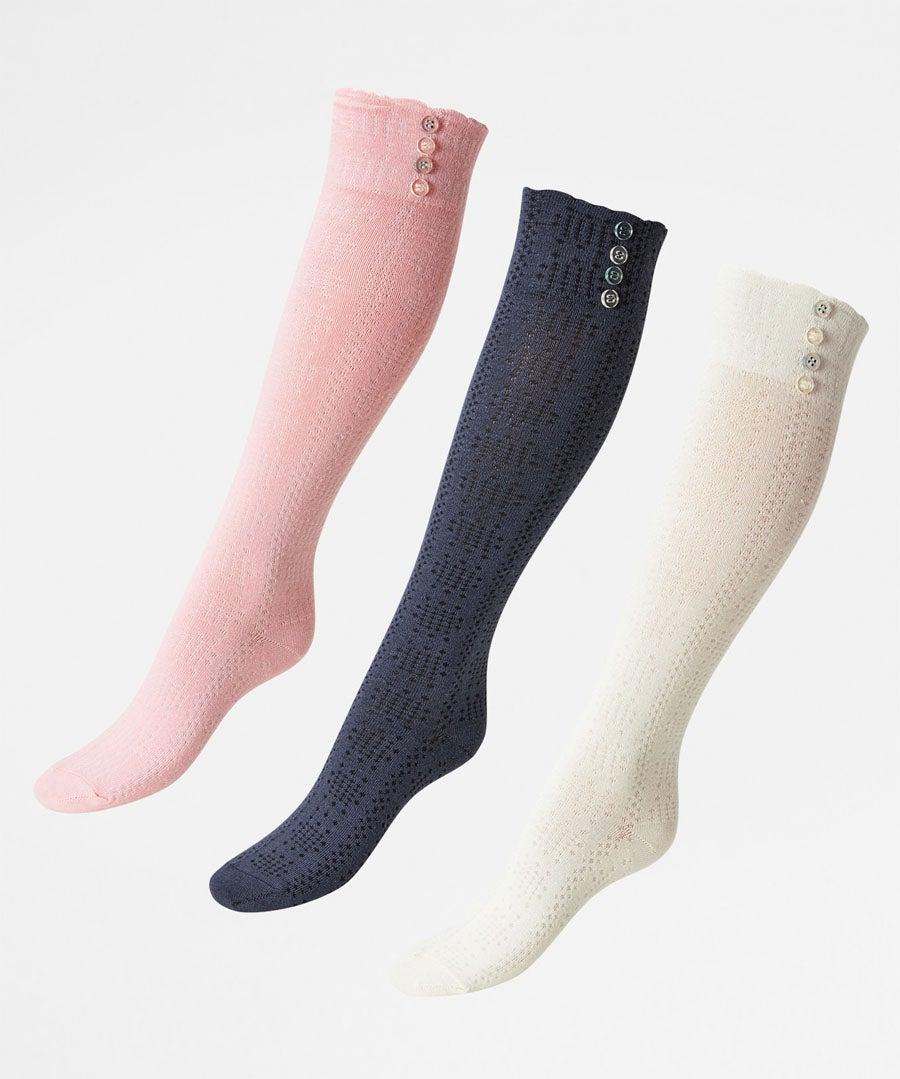 Pk/3 Cute To Boot Knee Socks