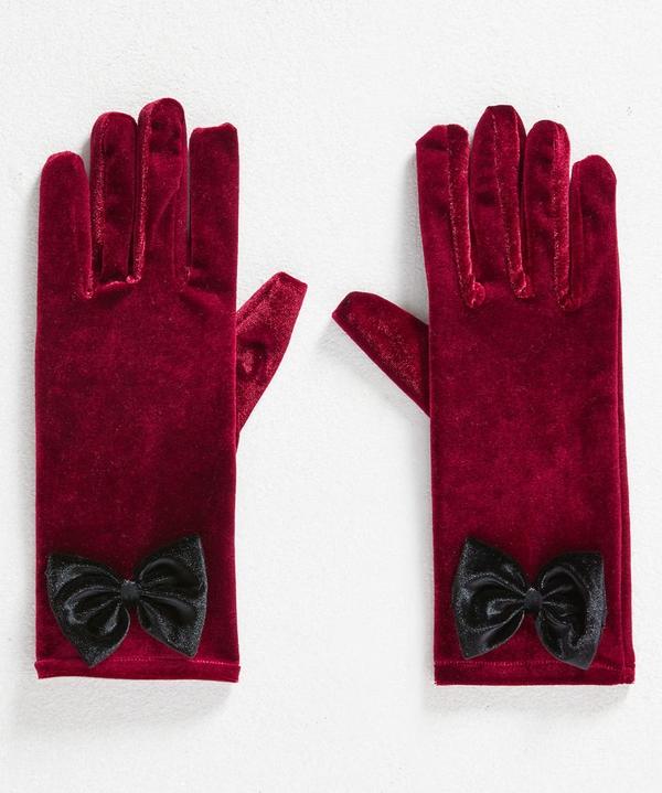 Alluring Velvet Bow Gloves