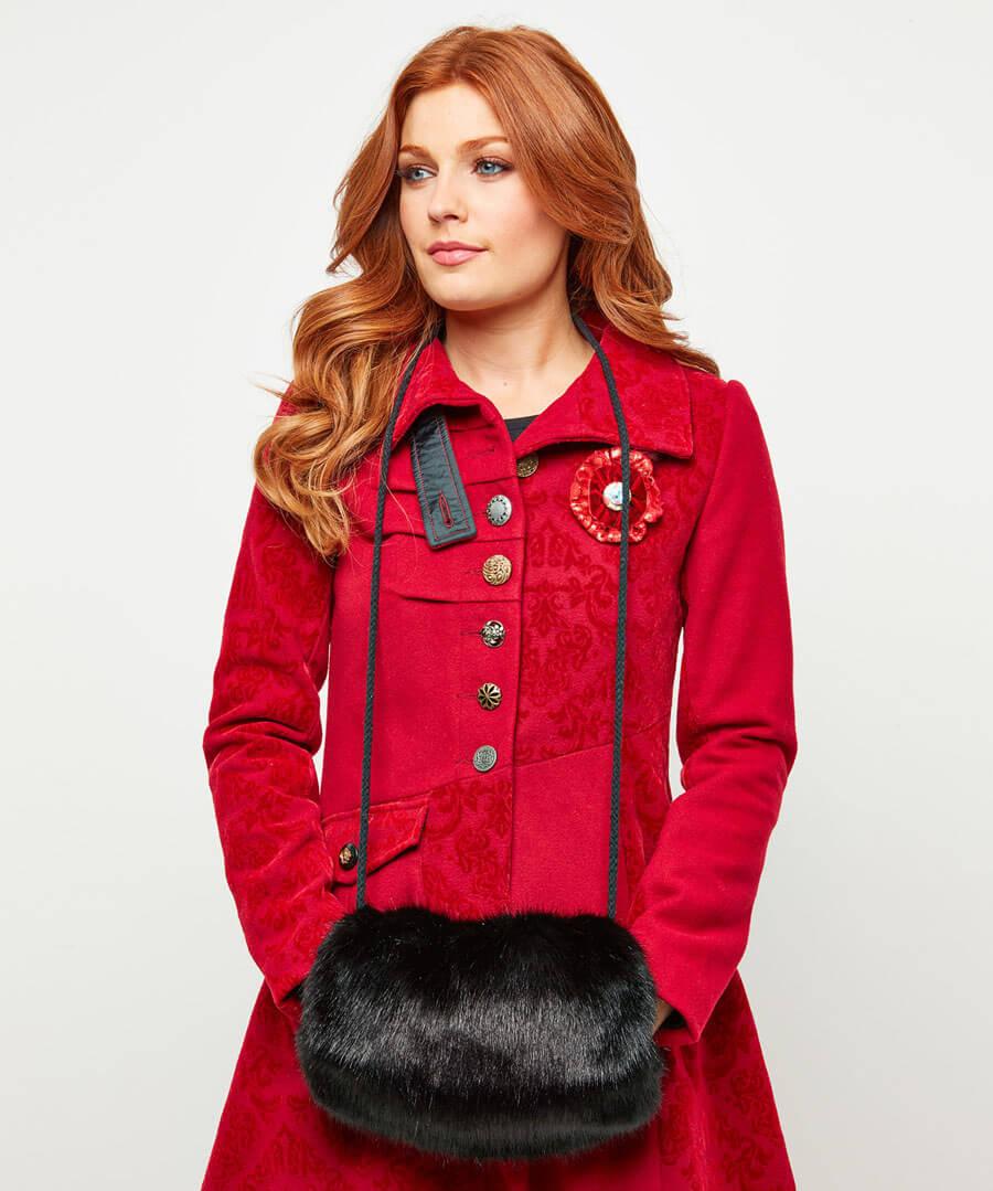 Anastasia Faux Fur Muff Model Back