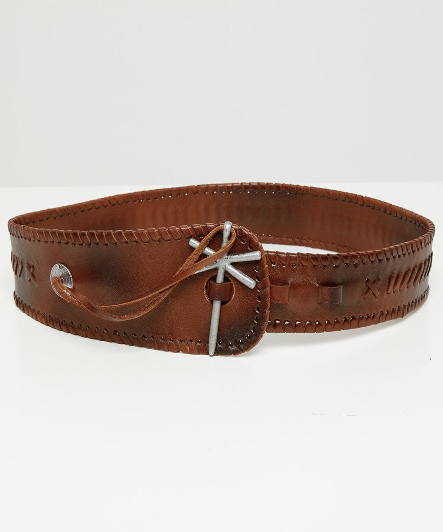 Sensational Whip Stitch Leather Belt Model Front