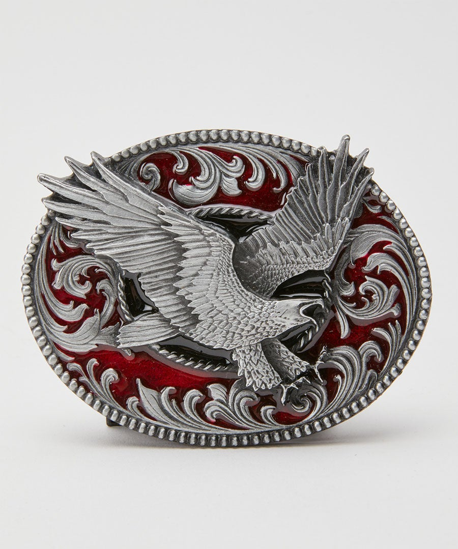 Eagle Pewter Oval Buckle Model Front