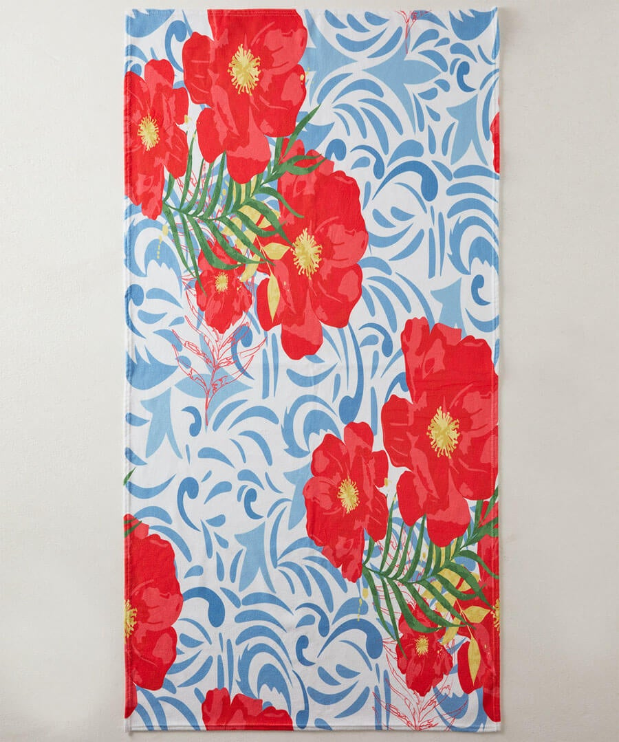 Pretty Poppy Beach Towel Model Front