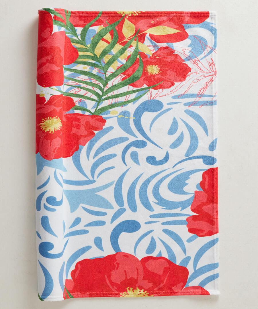 Pretty Poppy Beach Towel Model Back